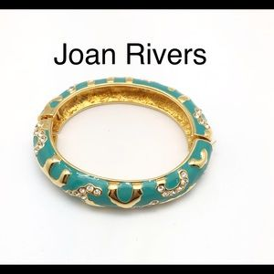 Joan Rivers Gold Turquoise & Crystal Bangle